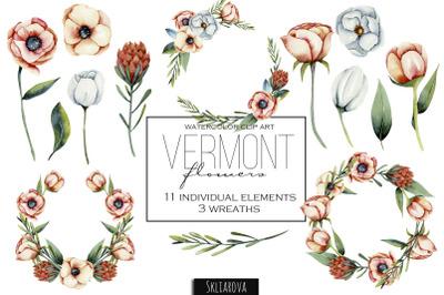 Vermont flowers. Elements + wreaths.