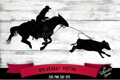 Breakaway Roping svg file, rodeo cowboy western svg cut file, silhouet