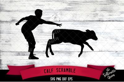 Calf Scramble svg file, rodeo cowboy western svg cut file, silhouette