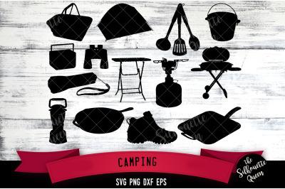 Camping Gear svg file, svg cut file, silhouette studio, cricut design