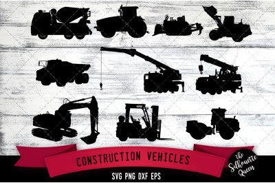 Construction Vehicles svg file, svg cut file, silhouette studio, cricu