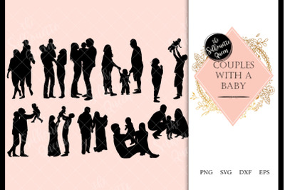 Couple with a Baby svg file, family svg cut file, silhouette studio, c