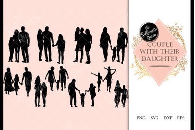 Couple with Daughter svg file, family svg cut file, silhouette studio,