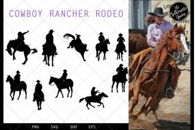 Cowboy Rancher Rodeo svg file, western svg cut file, silhouette studio