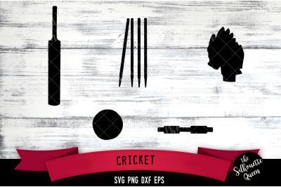 Cricket Equipment svg file, bat ball wicket svg cut file, silhouette s