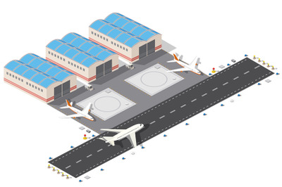 Isometric plan of the city airport