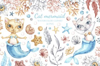 Nursery Cat Mermaid clipart. Watercolor Seashells clip art