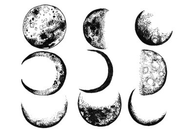 9 hand drawn ink moon phases