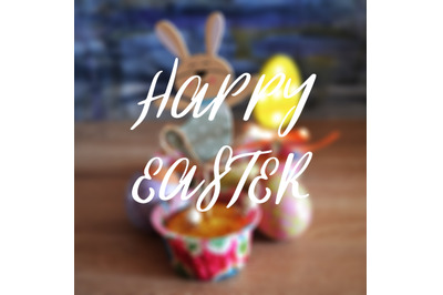 Easter greeting card with colorful eggs and cake