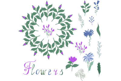 Floral elements for your design on white background. Stylized herbs ,l