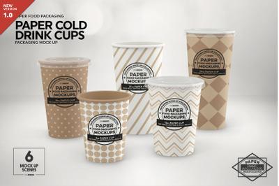 Paper Drink Cups Packaging Mockup
