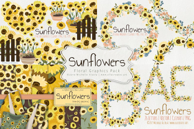 Sunflowers Floral Graphics Pack