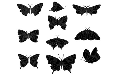 Set of butterflies, isolated on white, collection of silhouettes, EPS