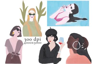 5 trendy hand drawn gouache girls
