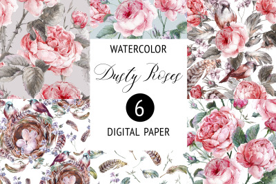Watercolor Dusty Rose Digital Paper