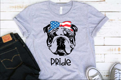 Bulldog Pride USA Bandana mask United States Flag 4th july 1380S
