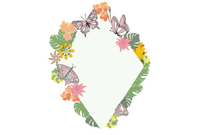 Frame with butterflies, tropical leaves and flowers.