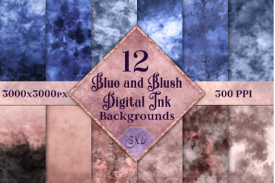 Blue and Blush Digital Ink Backgrounds - 12 Image Textures Set