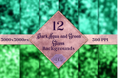 Dark Aqua and Green Glass Backgrounds - 12 Image Textures