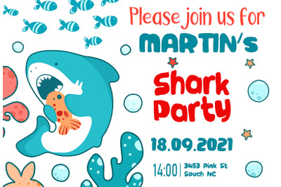 Invitation template, Shark Party