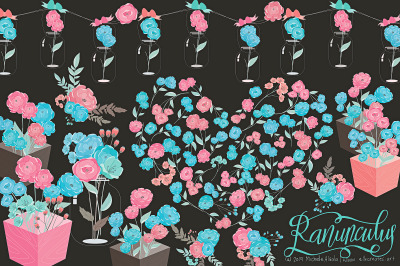 Ranunculus 01 - Blue and Pink Flower Vector Clipart