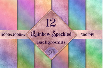 Rainbow Speckled Backgrounds - 12 Image Textures Set