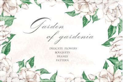 Garden of gardenia. Watercolor delicate flowers