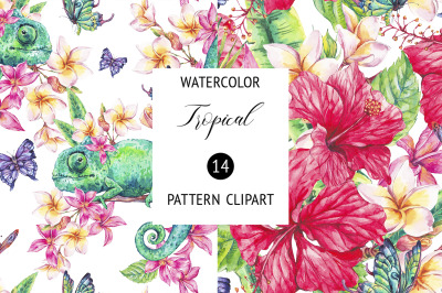 Watercolor Summer Tropical Floral Pattern