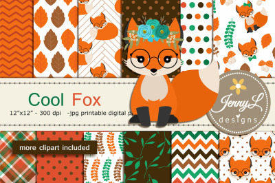 Fall Fox Digital Papers and Clipart