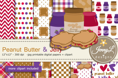 Peanut Butter and Jelly Digital Papers and Clipart