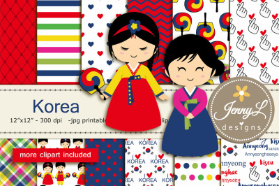 Korea Digital Papers and Clipart