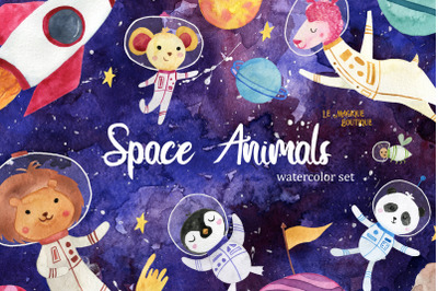 Space Animals Watercolor Clipart