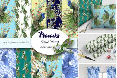 Peacocks Seamless Pattern