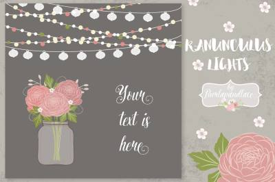 Ranunculus flower invitation