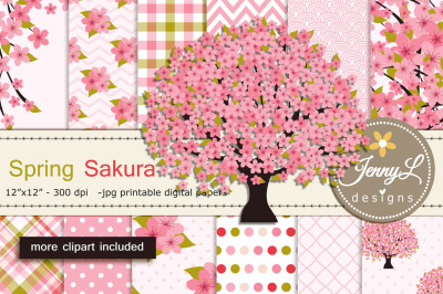 Cherry Blossoms Digital Paper and Sakura Clipart
