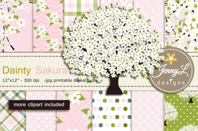 White Cherry Blossoms Digital Paper and Sakura Clipart