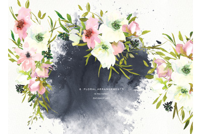 Watercolor Blush and White Florals Clipart - Seamless Pattern Floral B