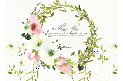Hand Painted Watercolor Blush and White Rose Clipart