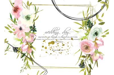 Watercolor Rose Clipart Floral Frame Collection