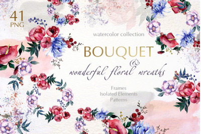 Bouquets with flowers Watercolor png