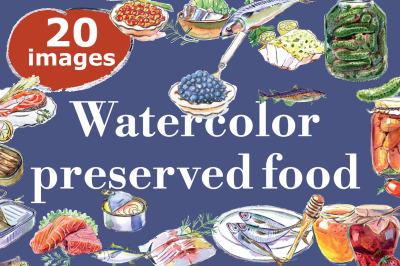 Watercolor preserved food