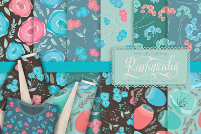 Ranunculus 01 - Flower Seamless Patterns & Digital Papers