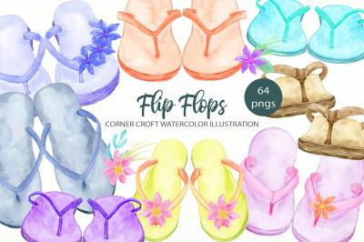 Watercolor Flip Flops Clipart