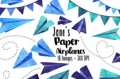 Watercolor Blue Paper Airplanes Clipart
