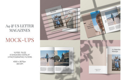 A4 and US Letter Magazines Mock-Ups