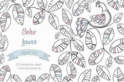 Boho Leaves Illustration Set