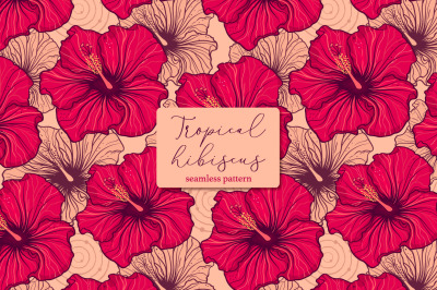 Tropical hibiscus. Seamless pattern.