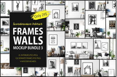 Scandinavian Interior Frames & Walls Mockup Bundle - 3