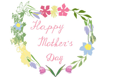 Mother's Day greeting card with flowers on the background in the form