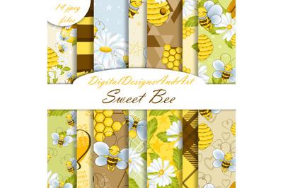 Cute bee digital paper